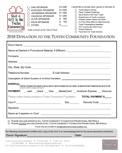 Donation Agreement Archives Tustin Community